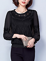 cheap -Women's Going out Street chic Puff Sleeve Cotton Loose Blouse - Solid Colored, Patchwork