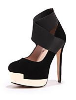 cheap -Women's Shoes Nubuck leather Spring / Fall Comfort Heels Stiletto Heel Round Toe Buckle Black / Red / Party & Evening