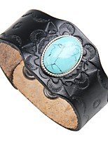 cheap -Men's Turquoise Leather Cool 1pc Leather Bracelet - Vintage Rock Circle Black Brown Bracelet For Club Street