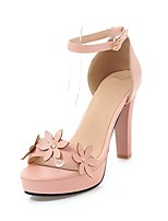 cheap -Women's Shoes Leatherette Spring / Summer Gladiator / Basic Pump Heels Chunky Heel Open Toe White / Black / Pink / Party & Evening
