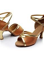 cheap -Women's Latin Shoes Satin Sandal / Heel Splicing Cuban Heel Customizable Dance Shoes Brown