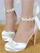 preiswerte -Damen Schuhe PU Frühling / Sommer Komfort High Heels Stöckelabsatz Spitze Zehe Weiß