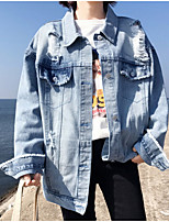 baratos -Mulheres Jaqueta jeans Vintage-Contemporâneo