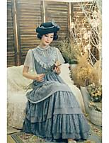 economico -Lolita Classica e Tradizionale Elegant Per donna Vestiti Cosplay Bianco Nero Grigio Lolita Manica corta Alla caviglia
