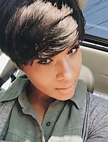 Недорогие -Человеческие волосы без парики Натуральные волосы Волнистый Стрижка под мальчика Природные волосы Природа Черный Машинное плетение Парик