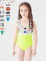 cheap -Girls' Cute Active Print Swimwear, Polyester Sleeveless Blue Green Orange Blushing Pink Yellow