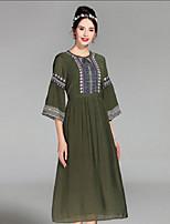 cheap -PROVERB Women's Casual Basic Loose Dress - Color Block High Waist