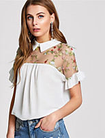 cheap -Women's Basic Blouse-Floral,Embroidered