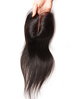 cheap -Guanyuwigs Women's Straight 4x4 Closure Brazilian Hair Swiss Lace Human Hair Free Part Middle Part 3 Part Silky High Quality Daily
