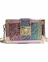 cheap -Women's Bags Metal Evening Bag Buttons / Crystals for Casual Black / Blushing Pink / Rainbow