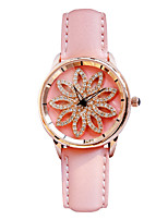cheap -Women's Quartz Simulated Diamond Watch Dress Watch Japanese Chronograph Luminous Genuine Leather Band Luxury Creative Black Red Brown