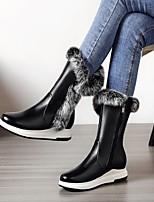 preiswerte -Damen Schuhe Künstliche Mikrofaser Polyurethan Herbst Winter Schneestiefel Stiefel Flacher Absatz Runde Zehe Mittelhohe Stiefel Feder für