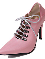 cheap -Women's Shoes Leatherette Spring / Summer Comfort Heels Stiletto Heel Pointed Toe Black / Blue / Pink