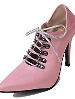 abordables -Mujer Zapatos Semicuero Primavera / Verano Confort Tacones Tacón Stiletto Dedo Puntiagudo Negro / Azul / Rosa