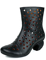 cheap -Women's Shoes Cowhide Nappa Leather Spring Fall Fashion Boots Boots Chunky Heel for Black Khaki