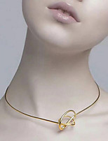 cheap -Women's Gold Plated Choker Necklace - Simple Fashion European Line Twist Circle Necklace For Gift Daily