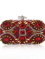 cheap -Women's Bags Terylene Evening Bag Crystals / Pearls for Event / Party / Casual Red