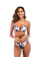 abordables -Femme Bikinis - Dos Nu Croisé Imprimé Lacet, Fleur Géométrique Couleur Pleine Tanga