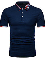 cheap -Men's Business Street chic Polo - Striped Color Block Patchwork