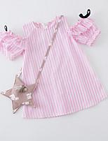 preiswerte -Mädchen Kleid Alltag Festtage Gestreift Baumwolle Polyester Sommer Kurzarm Niedlich Blau Rosa