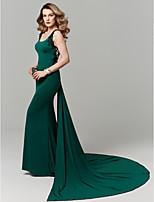 baratos -Sereia Decote em U Cauda Capela Microfibra Jersey Baile de Formatura / Evento Formal Vestido com Apliques de TS Couture®