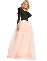 cheap -Wedding Event / Party Slips Polyester Floor-length Party / Evening Skirt with Split Joint