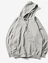 cheap -Men's Basic Hoodie - Solid Colored, Ruched