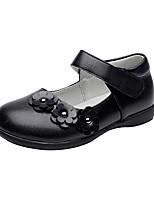 cheap -Girls' Shoes Leatherette Spring Fall Flower Girl Shoes Comfort Flats Hook & Loop Flower for Wedding Dress Black