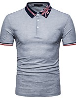 cheap -Men's Basic Cotton Polo - Color Block, Patchwork Shirt Collar