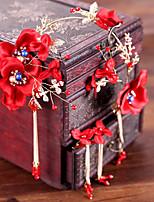 Недорогие -Жен. Красный Старинный Комплект ювелирных изделий - Искусственный жемчуг Гипсофила Этнический Включают Украшения для лба Красный Назначение Свадьба Для вечеринок