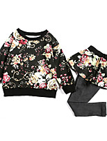 cheap -Kids Girls' Floral Long Sleeves Clothing Set