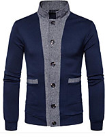 cheap -Men's Basic Long Sleeve Cardigan - Solid Colored Stand