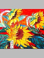 cheap -Oil Painting Hand Painted - Floral / Botanical Traditional Canvas