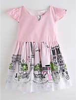 cheap -Girl's Daily Print Dress Summer Sleeveless Cute Basic Blushing Pink