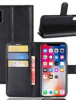 cheap -Case For Apple iPhone X iPhone 8 Plus Card Holder Wallet with Stand Full Body Cases Solid Colored Hard PU Leather for iPhone X iPhone 8