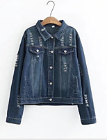 cheap -Women's Street chic Denim Jacket-Solid Colored