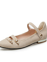 cheap -Women's Shoes Leatherette Spring Summer Comfort Flats Low Heel Pointed Toe for Casual Outdoor Black Beige Red Pink