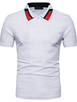 cheap -Men's Street chic Polo - Striped Color Block Patchwork