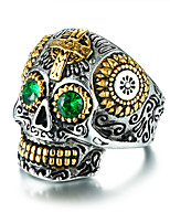 cheap -Men's Cool Rhinestone Skull Statement Ring - Casual / Fashion Silver Ring For Bar / Club