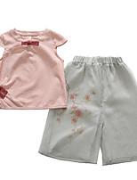 abordables -Enfants Fille Couleur Pleine Manches Courtes Ensemble de Vêtements