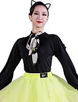 abordables -Danse latine justaucorps Femme Entraînement Soie Glacée Bandeau Manches Longues Collant / Combinaison