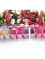 cheap -Cube Plastic Favor Holder with Sash / Ribbon Favor Boxes - 24