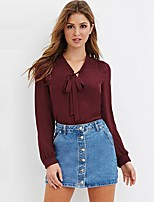 cheap -Women's Cute Street chic Blouse - Solid Colored Bow