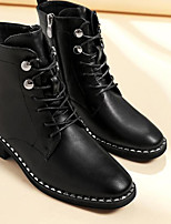 cheap -Women's Shoes PU Winter Combat Boots Boots Chunky Heel Mid-Calf Boots for Black
