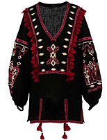 cheap -Women's Holiday Vintage Blouse - Color Block V Neck
