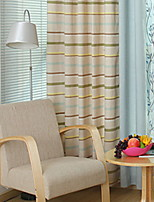 cheap -Curtains Drapes Living Room Lattice Contemporary Cotton / Polyester Printed