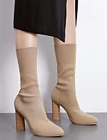 Недорогие -Жен. Обувь Трикотаж Эластичный сатин Осень Зима Модная обувь Удобная обувь Ботинки На толстом каблуке Сапоги до середины икры для Черный