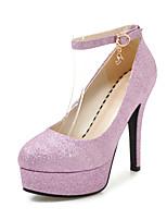 abordables -Mujer Zapatos Lentejuelas Primavera / Verano Pump Básico Tacones Tacón Stiletto Dedo redondo Hebilla Plata / Azul / Rosa / Fiesta y Noche