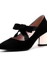 preiswerte -Damen Schuhe Nubukleder Frühling / Herbst Komfort High Heels Blockabsatz Spitze Zehe Schnalle Schwarz / Beige / Rot