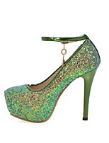 cheap -Women's Shoes Paillette Spring / Fall Comfort Heels Stiletto Heel Round Toe Sequin Purple / Green / Pink / Party & Evening